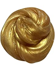 Shiny Colorful Fluffy Slime Jumbo Fluffy Slime Stress Relief Toy Scented Sludge Toy for Kids and Adults, Super Soft and Non-sticky  Gold