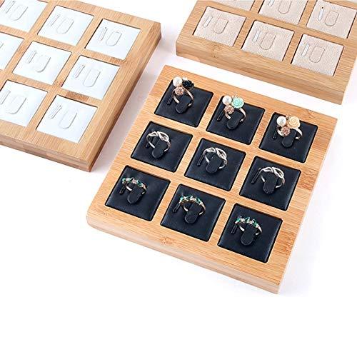 Anillos de bambú de Moda MUY Bandeja de exhibición de Joyas Colgantes Anillos Accesorios de joyería Caja de Recuerdo de Embalaje de joyería Simple Caja de Recuerdo