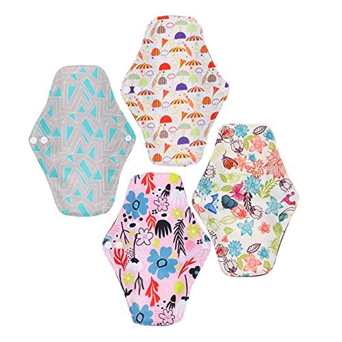 HEALLILY Almohadillas Sanitarias Reutilizables 4 Piezas Almohadillas Menstruales Lavables Mama Tela Panty Forros Compresas Higiénicas Servilletas para Mujer Señora Período Fisiológica