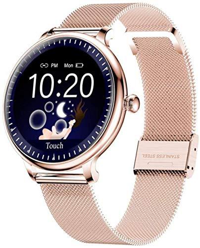 Reloj inteligente para mujer 1.08 con pantalla redonda para niñas, rastreador de presión arterial, pulsera inteligente para mujer, para Android iOS, color plateado y dorado