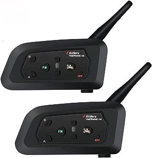 2 PCS Vnetphone V4 Bluetooth 3.0 Intercom Motorcycle 4 Riders Helmet Waterproof Interphone 1200M Range - Multi Wireless communication support FM Great for Snowmobile Skiing Riding