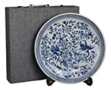 Festcool 14' Porcelain Plate, Birds and Flowers, Blue and White Decorative Plate