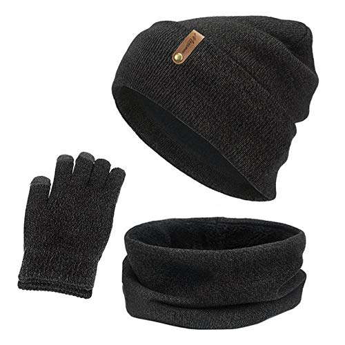 YNLRY Heat Holders New Knitted Winter Hat Scarf Gloves Set Women Thick Touch Screen Glove Beanies Ring Scarf Female for Girls Gift for Running/Fishing/Cycling (Color : F)
