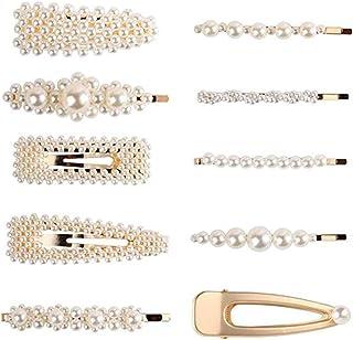 U-HOOME 10 PCS Fashion Imitiation Pearl Hairpins Korea Vintage Flower Barrettes Long Hair Clips Accessory Handmade Metal G...