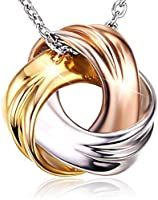 18K White Gold and Rose Gold Plated 925 Sterling Silver Necklace SPIRAL GALAXY Pendant for Women Ladies Girls Females...