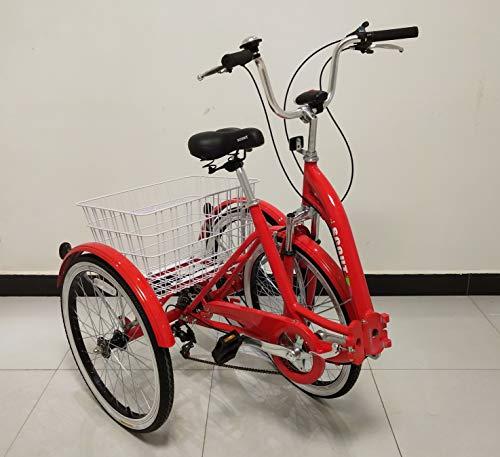 Quality Dreirad für Erwachsene, Dreirad, Klapprahmen, 6-Gang-Shimano-Getriebe, Alurahmen, Vorderradaufhängung (Rot)
