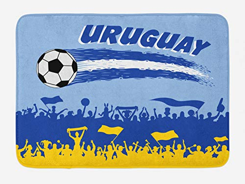ABAKUHAUS Uruguay Tapete para Baño, Partidarios y el balón de fútbol, Decorativo de Felpa Estampada con Dorso Antideslizante, 45 cm x 75 cm, Multicolor