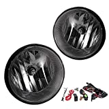 Driving Fog Lights Lamps Replacement for 2005-2011 Toyota Tacoma, 2007-2012 Toyota Tundra, 2004-2006 Toyota Solara with H10 12V 42W Halogen Bulbs & Wiring Harness Kit (Smoke Lens)
