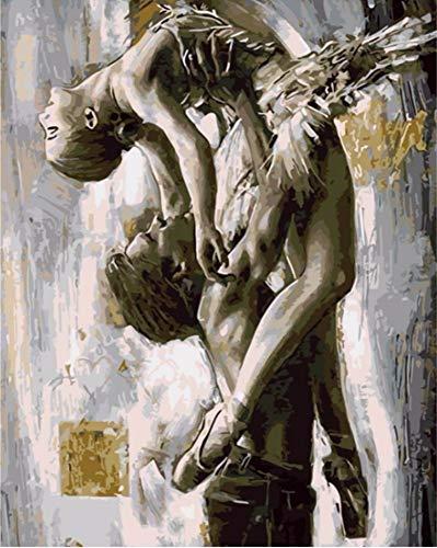 wangjian& Frame Tänzer Figur DIY Malen nach Zahlen Schwarz Weiß Malerei Kalligraphie Acrylmalerei auf Leinwand für Heimtextilien