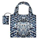 Bolsa de supermercado plegable Azul Blanco Negro Textura de piel de serpiente Bolsas de regalo de lona Bolsa de lona Bolsas de compras reutilizables de poliéster, lavables, duraderas y ligeras
