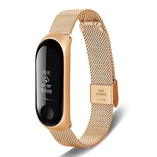 XINKO Armband Metall für Xiaomi Mi Band 4,Ersatzband Wasserdicht Edelstahl Strap Armband Zubehör Sportlich atmungsaktiv, verschleißfest, Ultraleicht - Schnallenriemen - Gold