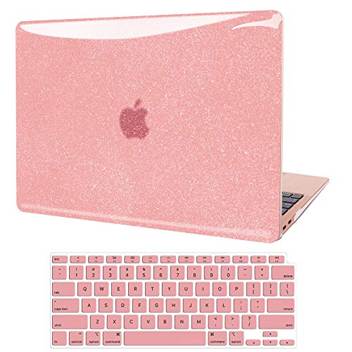 MacBook Air 13 inch Case 2020 2019 2018 Release A2337 M1 A2179 A1932, JGOO Smooth Shining Hard Shell Case with Keyboard Cover Compatible with Mac Air 13.3 with Retina Display & Touch ID, Rose Gold