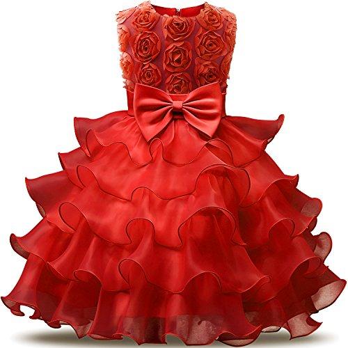 NNJXD Mädchen Kleid Kinder Rüschen Spitze Party Brautkleider Größe(110) 3-4 Jahre Blumen Rot