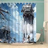 Fafan Star Galaxy War Space Duschvorhang Blauer Himmel Sturmtruppen Duschvorhang Panel ch Polyester wasserdichter Stoff 12er-Pack Duschhaken aus Kunststoff enthalten