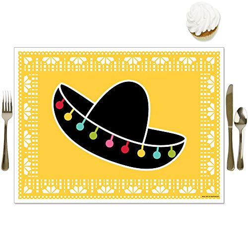 Big Dot of Happiness Let's Fiesta - Party Table Decorations - Mexican Fiesta Placemats - Set of 16