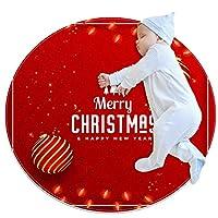 ソフトラウンドエリアラグ 80x80cm/31.5x31.5IN 滑り止めフロアサークルマット吸収性メモリースポンジスタンディングマット,メリークリスマスの装飾的な挨拶