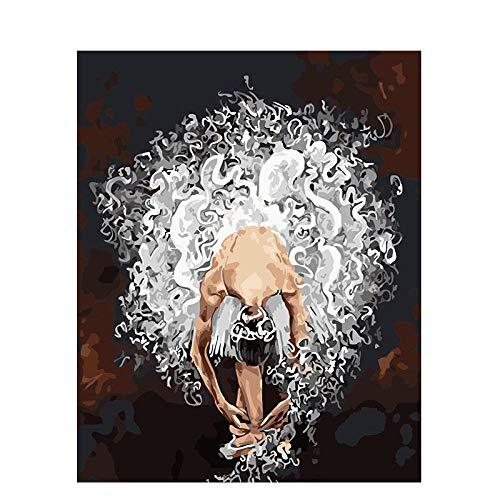 Pintar por Numeros Adultos Niños DIY Pintura al óleo Kit Bailarina parisina Lienzo de Bricolaje Decoración para Hogar Regalo 40x50cm Sin Marco