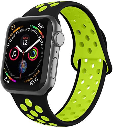 VIKATech Compatible con Apple Watch Correa 44mm 42mm, Correa Deportiva Reemplazo clásico de Silicona Suave Transpirable para iWatch Series 5/4/3/2/1, M/L, Negro/Volt