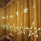 Cortina Luces de San Valentín 138LED con Enchufe, Ulinek 2M Cadena Luces de Navidad 12Estrellas con 8 Modos Resistente al Agua Luce LED para Exterior Habitación Interior Jardín Fiesta Boda