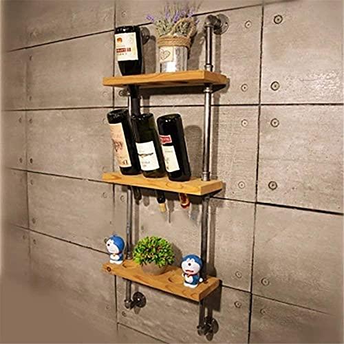 AMAFS Estante de Vino, Estante de Vino Colgante de Pared de Madera de Hierro Forjado Industrial Estante de exhibición de Vino Colgante invertido Almacenamiento Beautiful Home