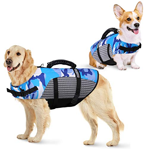 KOESON Dog Life Jacket Ripstop Pet Safety Life Vest, Adjustable Dogs Lifesaver Vest with Enhanced Buoyancy and Rescue Handle, Camouflage Swimsuit Preserver for Small Medium and Large Dogs (Blue, S)