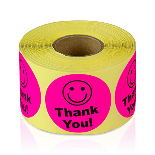 """Pink - Thank You Circle Smile Smiley Face 1.5"""" Round Circle Mailing Labels Stickers - 1 Roll"""