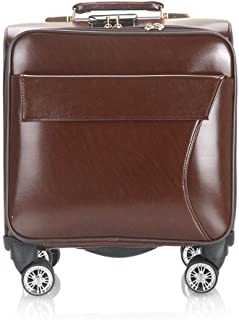 Trolley Case 18 inch Leather Rolling Business Trolley Case with Laptop Compartment, Super Lightweight Expandable Travel Carry On Cabin Hand Luggage Suitcases, Approved for Cabin Size for Most Airlines