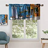 Hiiiman Rod Pocket Valance Blackout Curtain Retro Tuscan House with Brick Road Flower Pots Outside, Set of 2, 54'x36' for Bedroom Living Room