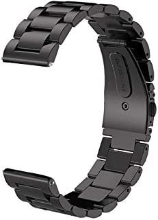 V-MORO Metal Black Band Compatible with Galaxy Watch 46mm Bands/Gear S3 Classic Band Solid Stainless Steel Strap Bracelet ...