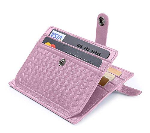 flintronic® Porte Cartes de Crédit, Rose Bifold Portefeuille Cuir Véritable, RFID NFC Blocage avec Poche à Monnaie avec Bouton Couvert pour Femmes