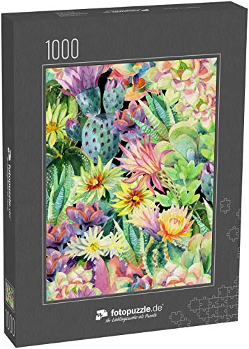 fotopuzzle.de Puzzle 1000 Teile Aquarell blühender Kaktus Hintergrund Exotische Kakteen mit nahtlosem Blumenmuster