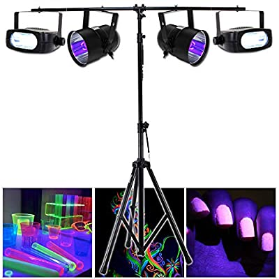 Electromarket 2x Beamz UV Ultraviolet Par Cans Strobe Lights T-Bar Lighting Stand DJ Disco