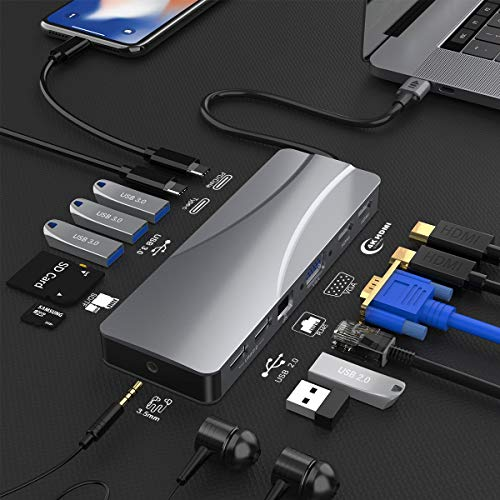 14 in1 USB C Hub,Triple Display USB C Docking Station with 2 4K HDMI, VGA,Gigabit Ethernet, Power Delivery Type C Port,SD TF, 5 USB Ports, Audio, USB C Dock Compatible for MacBook, Other USB C Laptop