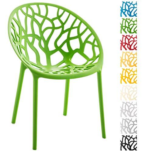 CLP Gartenstuhl Hope aus Kunststoff I Wetterbeständiger Stapelstuhl mit Einer max. Belastbarkeit von 150 kg I erhältlich, Farbe:grün