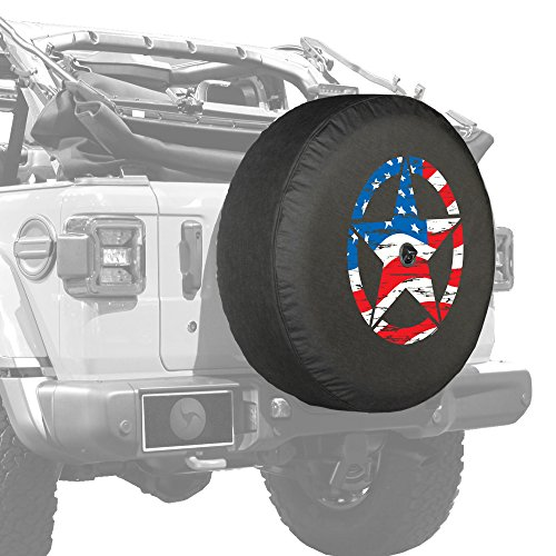 "Boomerang - 32"" Soft JL Tire Cover for Jeep Wrangler JL (with Back-up Camera) - Sport & Sahara (2018-2020) - Distressed Star - American Flag - Made in The USA"
