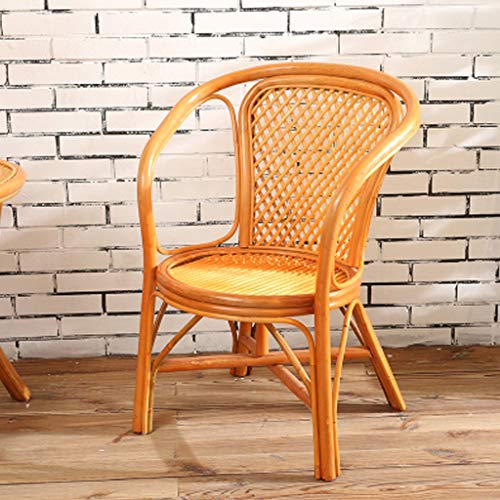 Xiaofeng Single Chair Leisure Real Rattan Hand-Woven Backrest Balcony Office Seat Leisure Home Elderly High Back Rattan Chair Living Room Teng Chair Fixed Armrest (Color : Yellow)