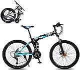 J.W. Faltbares Mountainbike, 8 Sekunden Schnelle Falten Fahrrad 26 Zoll 21 Geschwindigkeit Stahlrahmen Dual-Scheibenbremse Rennrad Für Off-Road-Radfahren,Blau