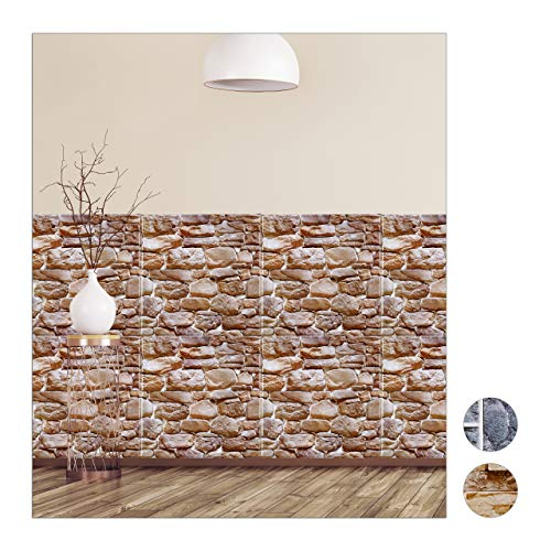 Relaxdays Wandpaneele selbstklebend, 10er Set, dekorative Naturstein Optik, 3D Paneele, PVC Steinwand, 50 x 50 cm, braun