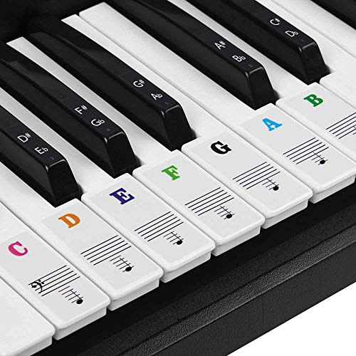 of cheap piano keyboards dec 2021 theres one clear winner BUZIFU Piano Keyboard Stickers for 37/49/54/61/88 Keys, Transparent Piano Key Stickers Removable Keyboard Note Stickers Colorful Electronic Piano Keyboard Music Notes for Kids Beginners