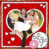 galleryy.net Hochzeitsherz Zum Ausschneiden | Rot mit weißem Herz & Schlaufen INKL 2 Scheren
