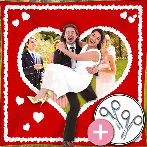 galleryy.net Hochzeitsherz zum Ausschneiden Just Married   rot mit weißem Herz & Schlaufen INKL 2 Scheren