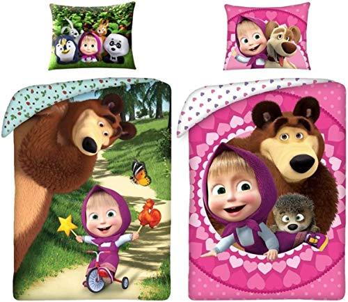rainbowFUN.de Mascha y el oso - Juego de ropa de cama reversible (algodón, funda nórdica de 140 x 200 cm, funda de almohada de 70 x 90 cm)