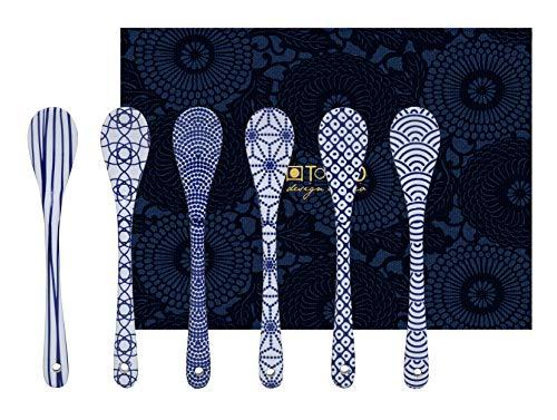 TOKYO design studio Nippon Blue, 6 Esspresso Löffelchen im Set. Löffel Porzellan Set.