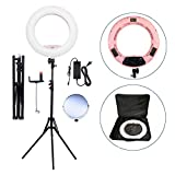 Yidoblo 18' LED Ring Light Kit Bi-color Dimmable Photo Studio Video Portrait Film Selfie Youtube Photography Lighting Set With Phone/Camera Holder, Makeup Mirror, Stand and Travel Bag Pink