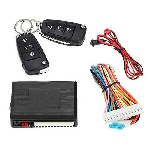 KKmoon Cerradura universal para puerta de coche, sistema de cierre centralizado, mando a distancia con 2 llaves plegables