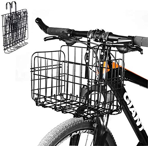 SOULBEST Fahrradkorb Vorne Faltbar für Gepäckträger Hinterradkorb Festmontage Gepäckträger Engmaschig Schwarz Fahrrad Lenkerkorb Extra Groß