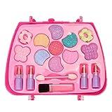 Jiudong Set de juguetes cosméticos con bolsa transparente, juego de juguetes de maquillaje lavable para niñas incluye todo lo que tu princesa necesita para jugar