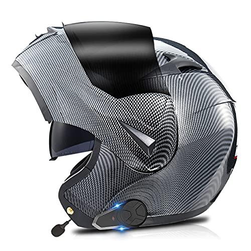 Casco Moto Modular Hombre con Bluetooth,intercomunicador FM MP3 Incorporado Sistema de comunicación para 2-3 Personas Integrado Casco De Moto,Dot/ECE Homologado Casco Moto Integral(Color:D,Size:L=59-