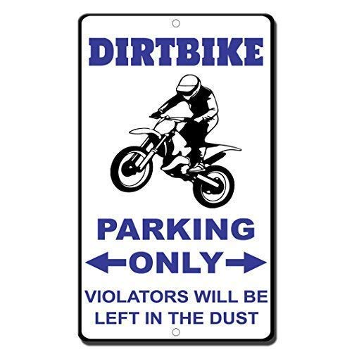 No/Brand Tin Sign Warning Sign Dirt Bike Parking Only Violators Will Be Left in The Dust Room Metal Poster Wall Decor