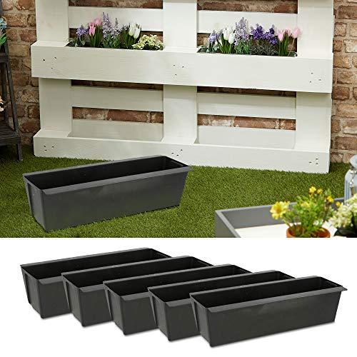 Pflanzkasten passend für Europaletten 6er Set aus Kunststoff Pflanzkübel Breite 38 cm (1 x 6er Set Pflanzkasten B38cm)